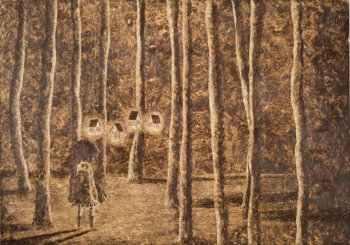 Monica Barengo, Attracted by the light, the girl enters the wood, Italia Technique: oil pastel, grattage - unpublished