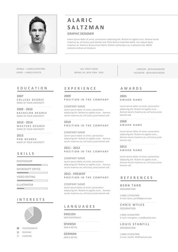 Another great monotone color scheme on this creative resume layout - layout for a resume