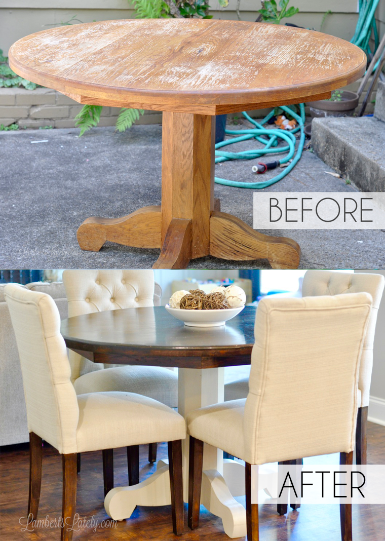 How To Refinish A Farmhouse Table When You Have Absolutely No Idea What You Re Doing Diy Kitchen Table Refinishing Kitchen Tables Kitchen Table Redo