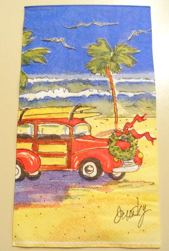 SURFIN CHRISTMAS Paper Napkin for decoupage or crafts 1 (ONE) Gues