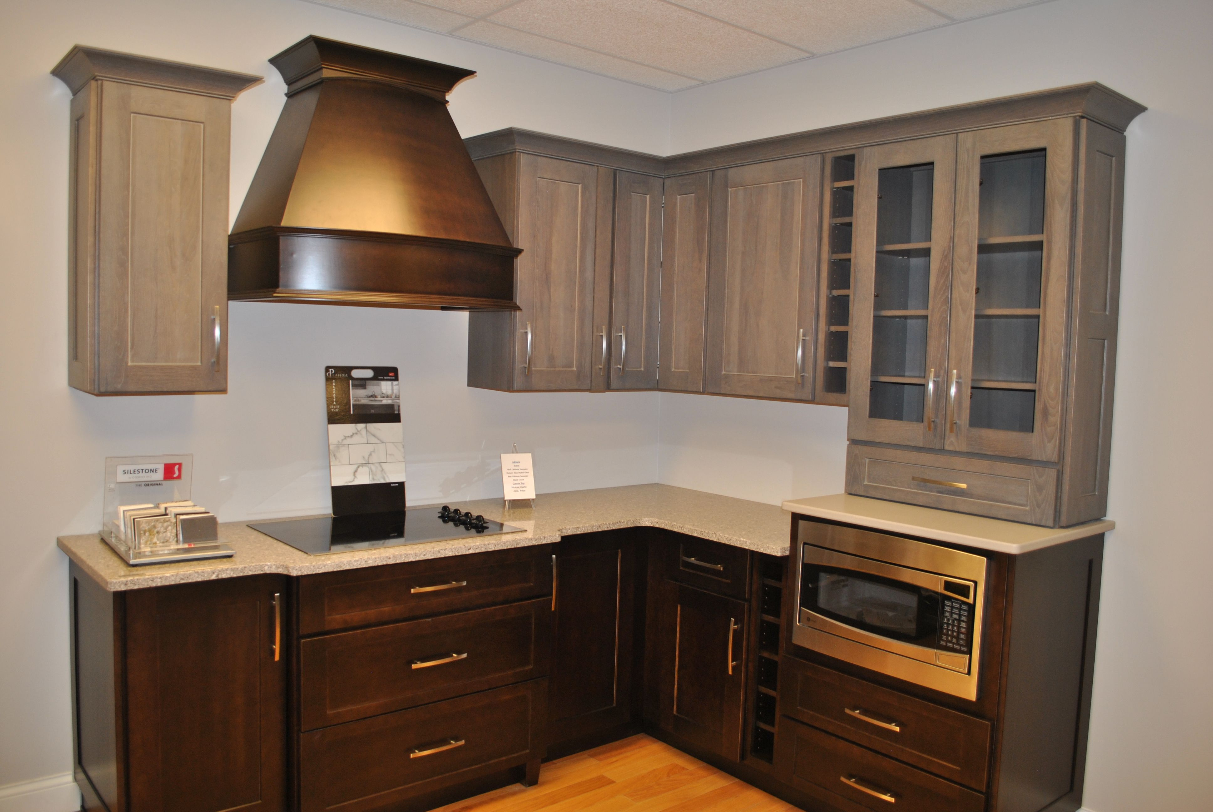 Best Hickory Grey Wall Cabinets With Espresso Base Cabinets In 400 x 300