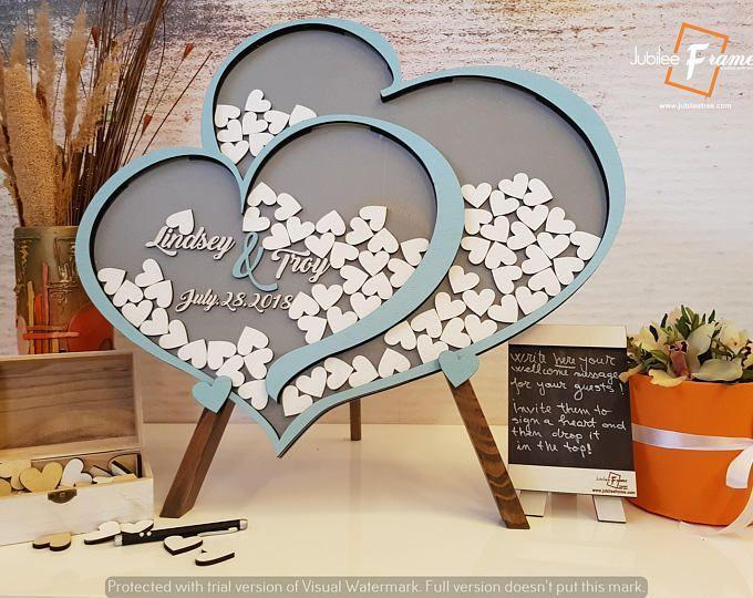 Corazón de la boda invitado alternativa marco jubilar personalizado boda invitada libro Drop Box boda Guest Book libro de invitados Drop Box Pen