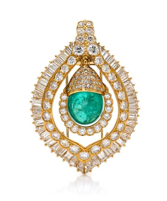 An 18 Karat Yellow Gold, Emerald and Diamond Pendant/Brooch, Van Cleef & Arpels, consisting of a central hinged drop within an outer frame, containing an emerald drop, 89 round brilliant cut diamonds and 42 baguette cut diamonds.