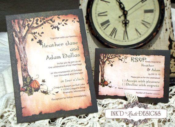 Vintage Autumn Pumpkins Wedding Invitation