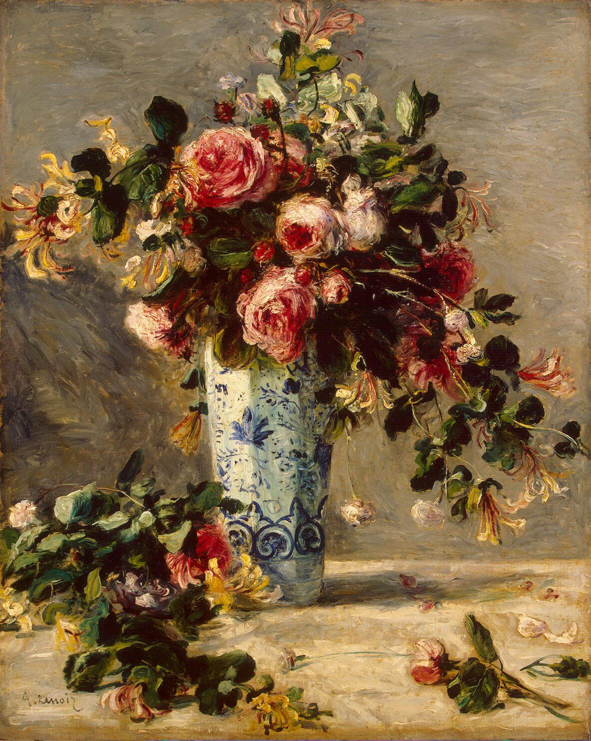 Roses and Jasmine in a Delft Vase by renoir