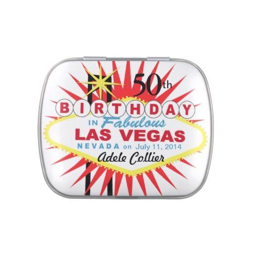 Las Vegas Sign 50th Birthday Favor White Jelly Belly Tin