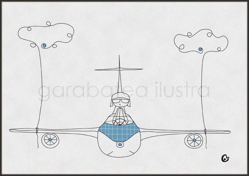 garabatea ilustra: Un pajaro, un caracol, un avión, una moto ...