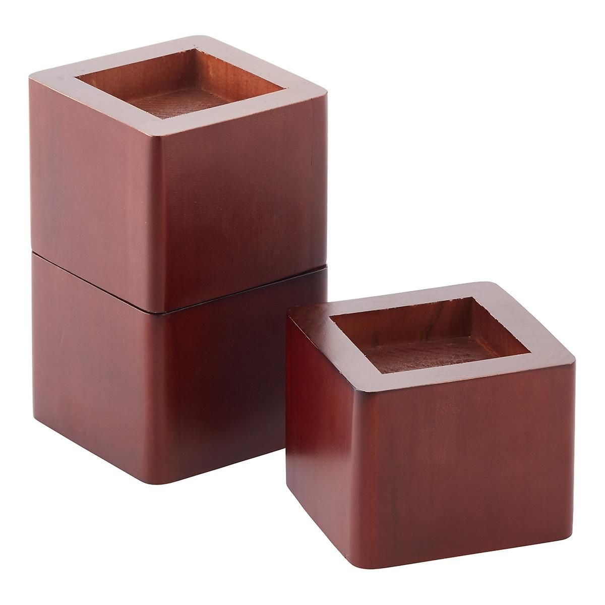 Walnut Solid Wood Bed Risers The Container Store Bed Risers Wood Bed Risers Solid Wood Bed