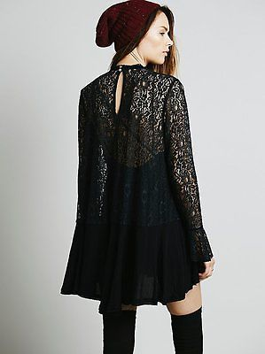 230708056c1 NWT 128 ☮ FREE PEOPLE Black Tell Tale Secret Origins Pieced Lace Tunic Top ☮