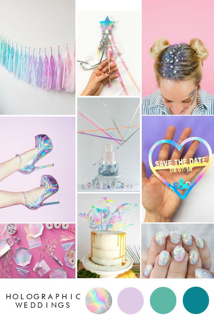 Holographic Wedding Ideas Wedding Trends Iridescent Wedding Decor
