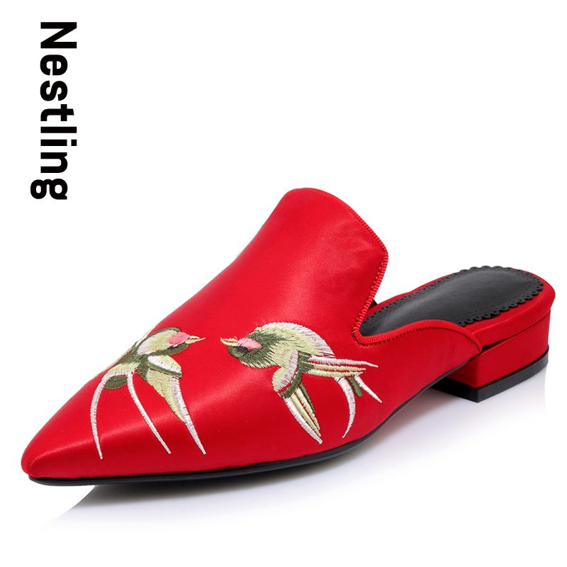 0296b60b0 Nestling New 2017 Fashion Wedding Party Shoes Woman Slides Summer Low Heel Women  Sandals China Style Silk Birds Embroidery Shoes