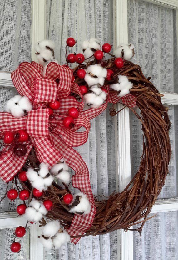 Country Style Cotton Wreath,  Farmhouse Style Wreath,  All  Season Wreath, Grapevine Wreath -   14 holiday Wreaths design ideas