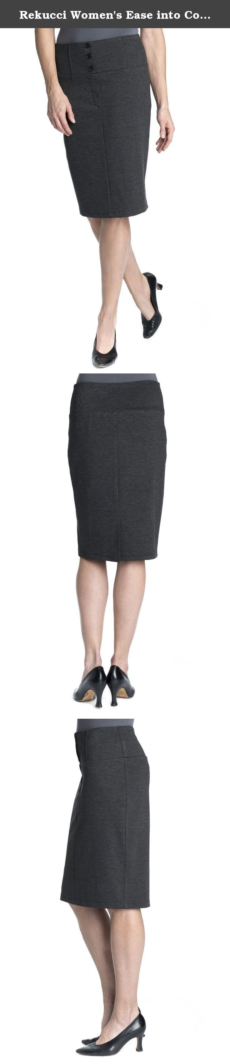 """Rekucci Women's Ease into Comfort Luxe Ponte Pencil Skirt With Button Detail. This luxe ponte pull on skirt with wide waist band and button front detail is perfect for any occasion. The 22"""" Length is very classy and casual and totally comfortable. Wear it to the office, layered with your favorite work wear staples, or dress it down for a casual yet chic look. The button accent at the front waist, faux front fly and faux front pockets have you looking completely put together. The wide…"""