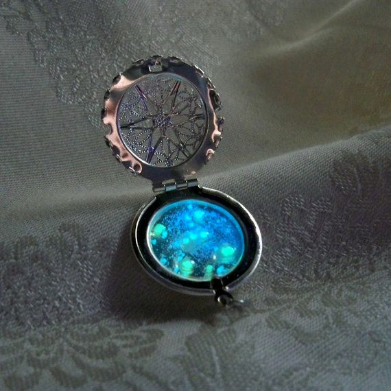 Zodiac Space Pendant - Orion Constellation with Glow in the Dark Stars - Silver Filigree Locket