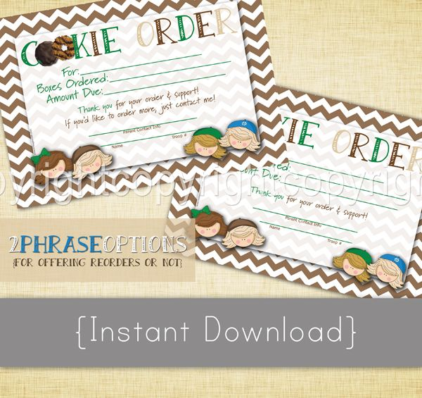 Instant Download Cookie Order Form Thank You Note 2 Phrase