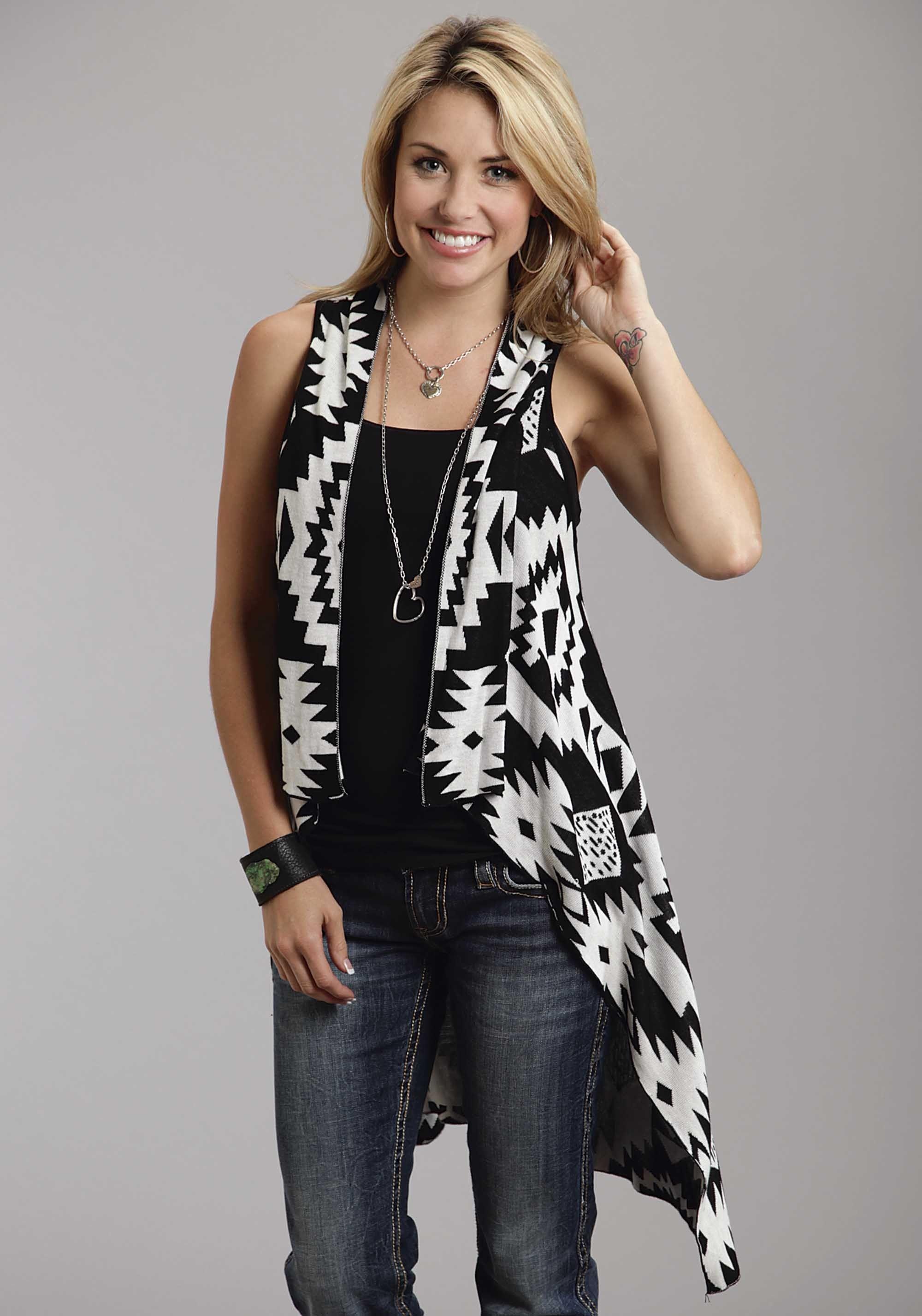 Stetson® Women's Black & White Knit Sleeveless Western Summer ...