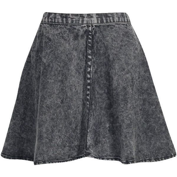 Boohoo Cate Acid Wash Denim Skater Skirt (32 CAD) ❤ liked on ...