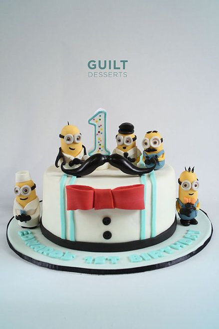 little man minions cake ~ minions in different career outfits