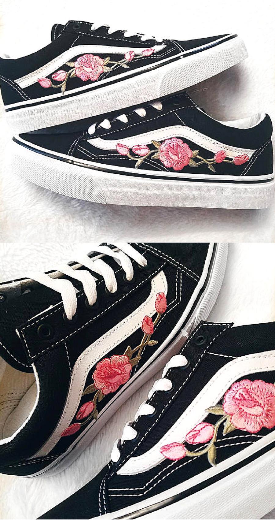 99 Rose Buds Pink Blk Unisex Custom Rose Embroidered Patch Vans Old Skool Sneakers Mens And Wom Sneakers Fashion Outfits Sneaker Outfits Women Vans Old Skool