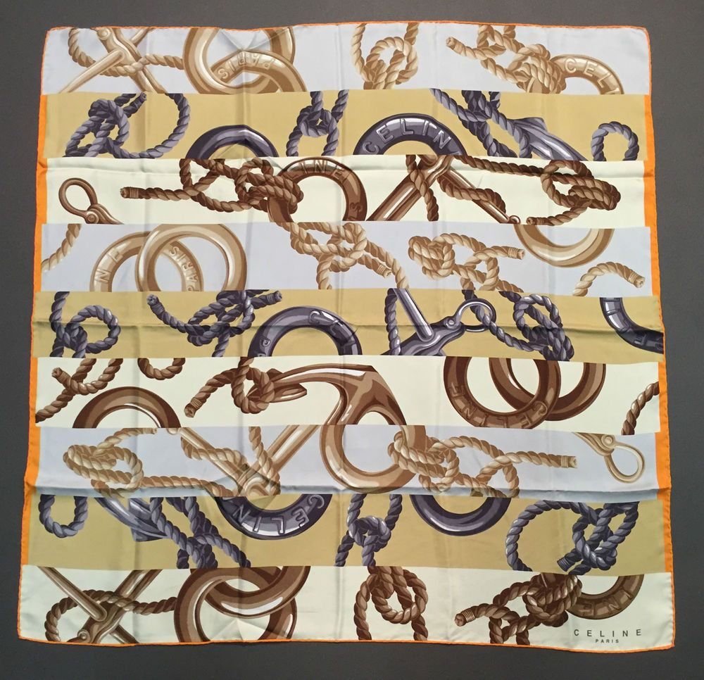 Authentique Foulard Céline   Authentic Céline Scarf   Silk scarf in ... 73baffe98ad
