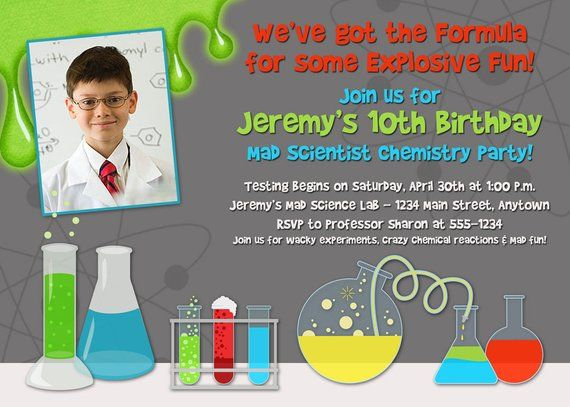 Mad Scientist Printable Birthday Party Invitation Chemistry