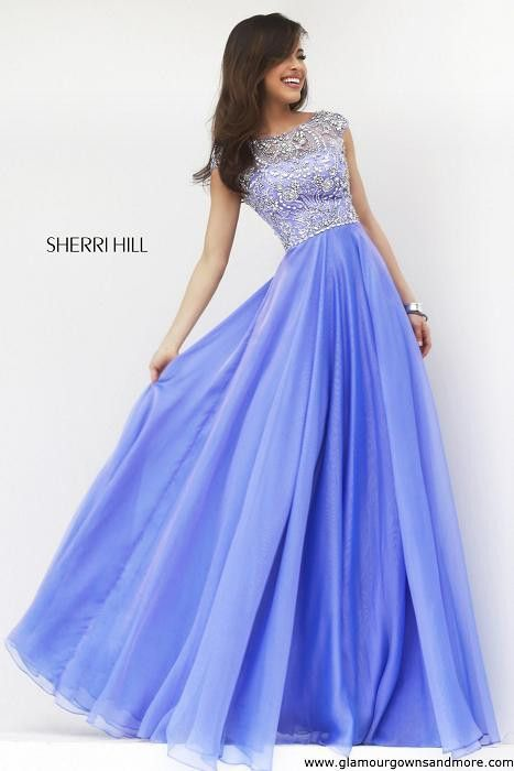 67687c81b3c Stunning new fall dress from Sherri Hill! Long chiffon with high neck   cap  sleeves!