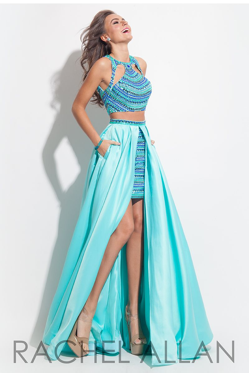7074 - Two piece dress with a high low skirt and embellished top ...