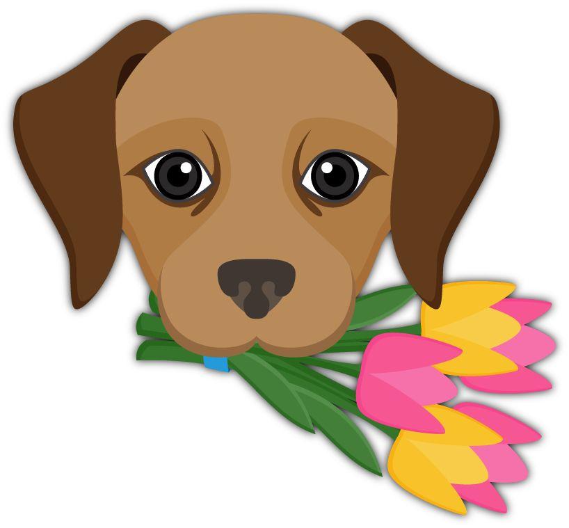 Flower Bouquet Emoji Labrador Retriever Emoji Stickers for iMessage ...