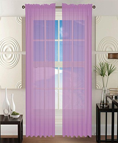 Elegant Comfort 2 Piece Solid Sheer Panel Curtain With 2inch Rod