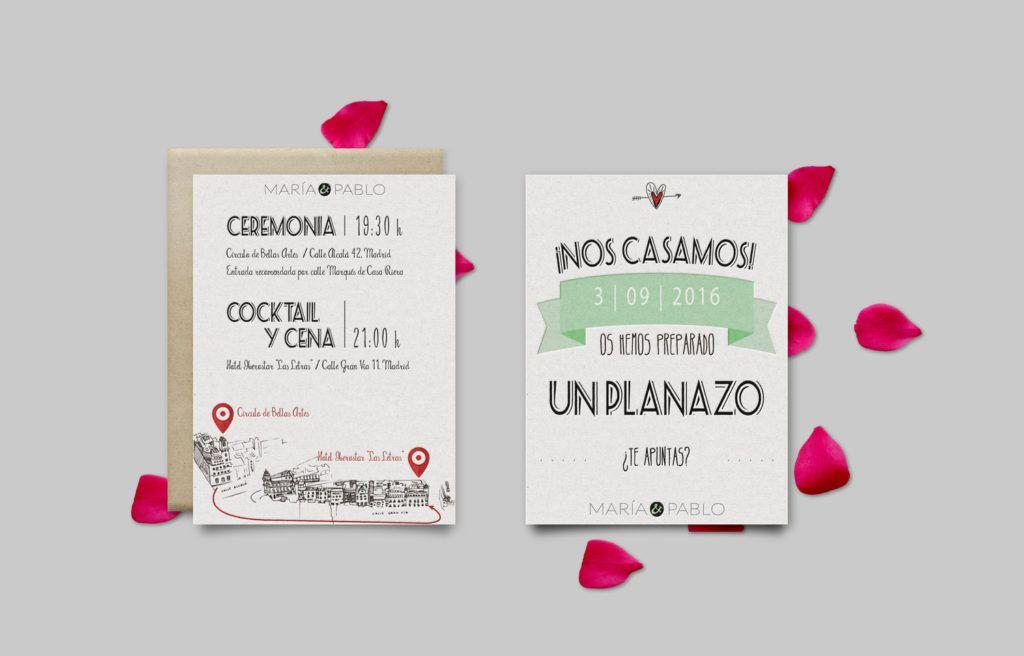 Invitaciones De Boda María Y Pablo Mapa Personalizado Diseño De Invitación Invitaciones Creativas Invitaciones De Boda