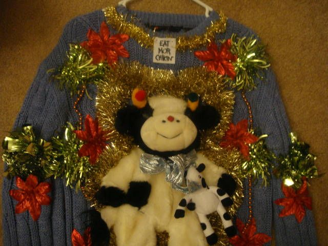 Deb Ugly Christmas Sweater Womans Medium Chick Filet Cow Tacky