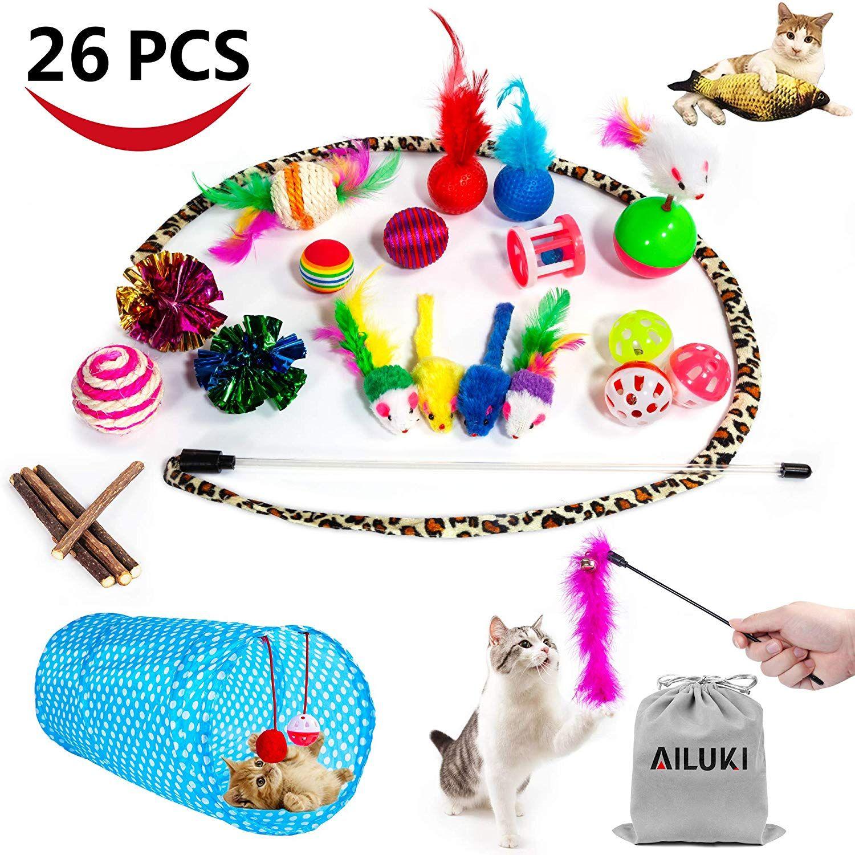 Legendog Cat Toys 20pcs Cat Crinkle Interactive Feather Toy Ball Sisal Mice Kitten Toys Wand Kitty Cat Catnip Toys 20pcs Cat Toys Click O Catnip Toys Cat Toys Kitten Toys