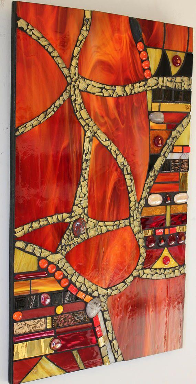 Vitrail verre fusionné verre trempé abstrait rouge et or | Etsy