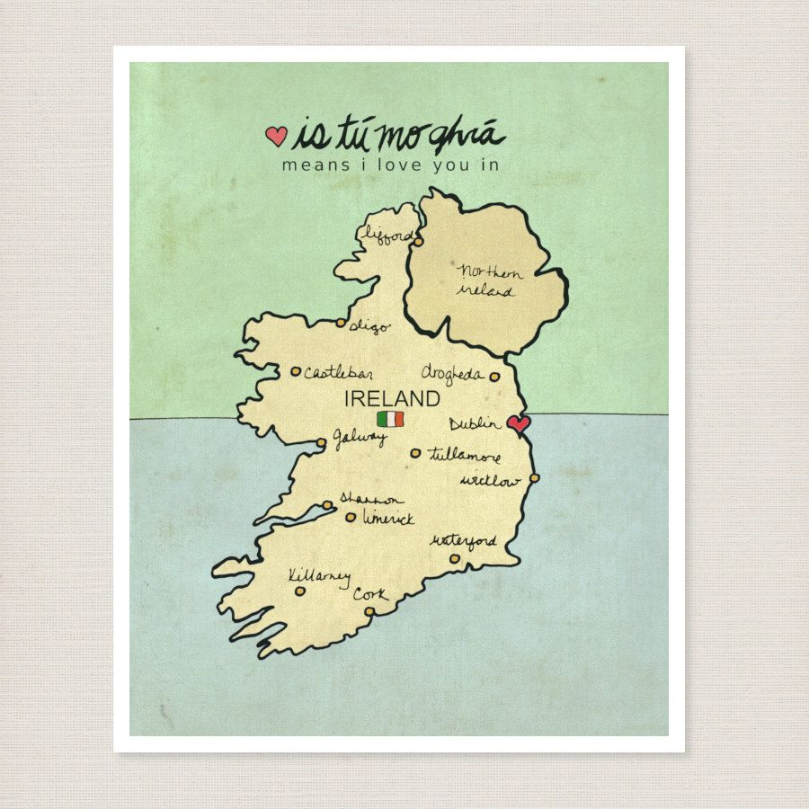 11x14 Travel Wall Art Ireland Poster Map - I Love You in Ireland ...