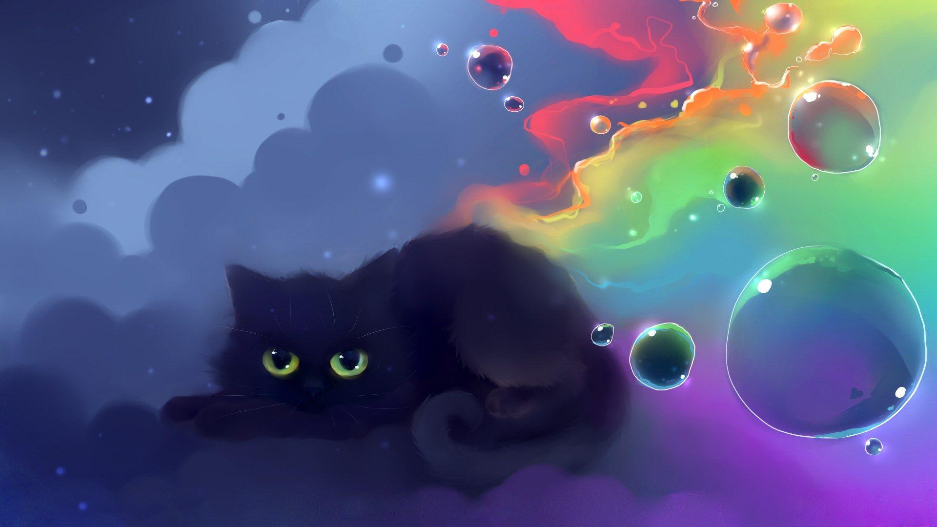 Anime Cat Wallpaper For Desktop Cat Art Anime Cat Manga Cat Cat Wallpaper