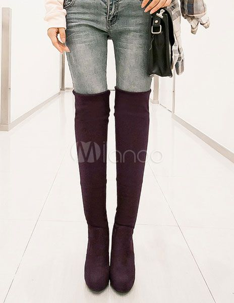 Round Toe Stretchy Micro Suede Woman's Over the Knee Boots