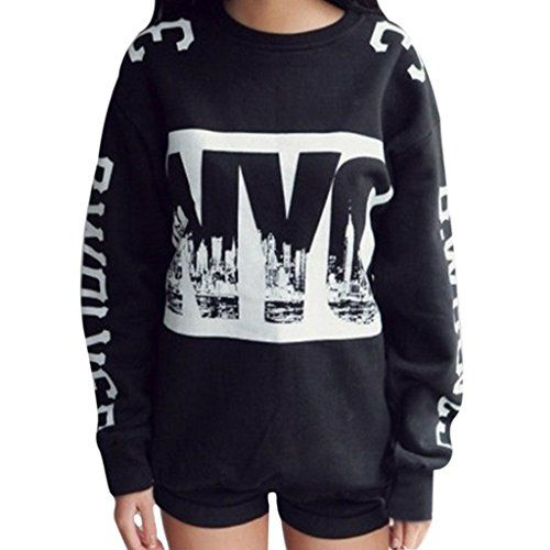 Jiayiqi Frauen Moderne New York Stadt Lose Sweatshirts Freizeit Sportswear Schwarz – Styling Tipps