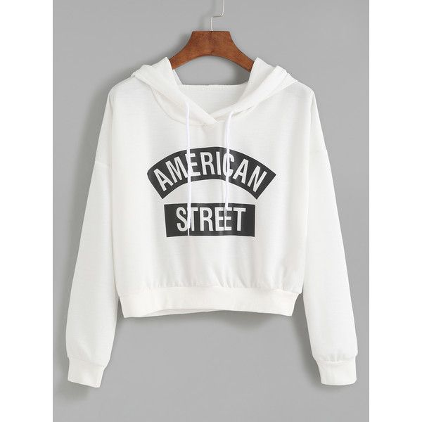 Shein sheinside white letter print hooded sweatshirt 14 liked on polyvore featuring tops - Shein damenmode ...