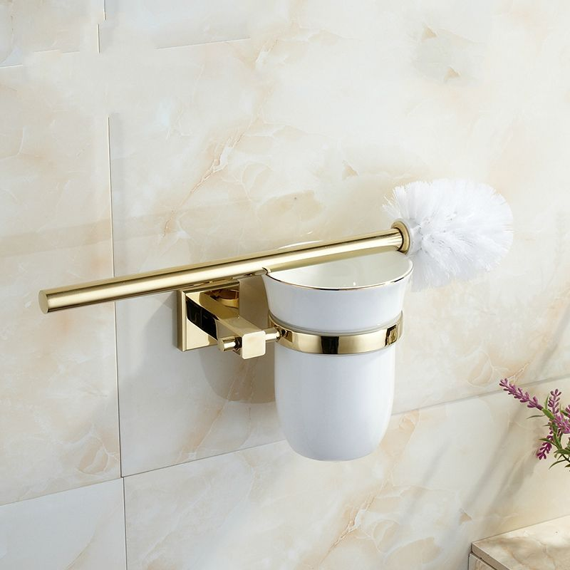 Photo of US $ 45.0 | European Zirconium Gold Copper Toilet Brush Holder Ceramic Cup Square …