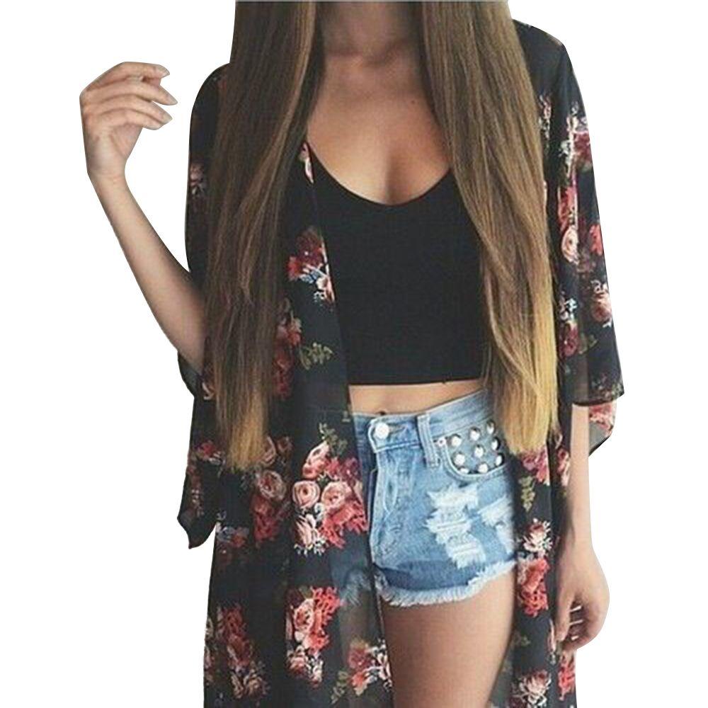 Half Sleeve Print Loose Chiffon Long Kimono | Long cardigan and ...
