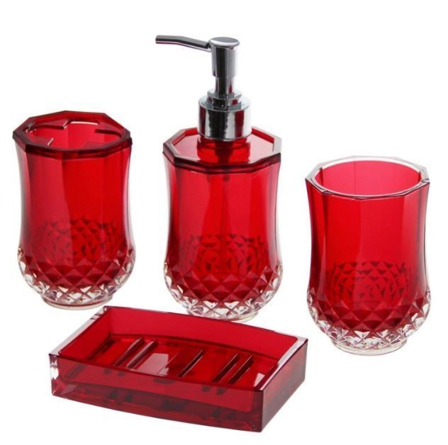 4 Piece Bathroom Accessory  Soap Dispenser Dish Toothbrush Holder Bath Set