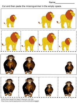 zoo animals cut paste sorting special education autism resources fine motor math for preschool. Black Bedroom Furniture Sets. Home Design Ideas