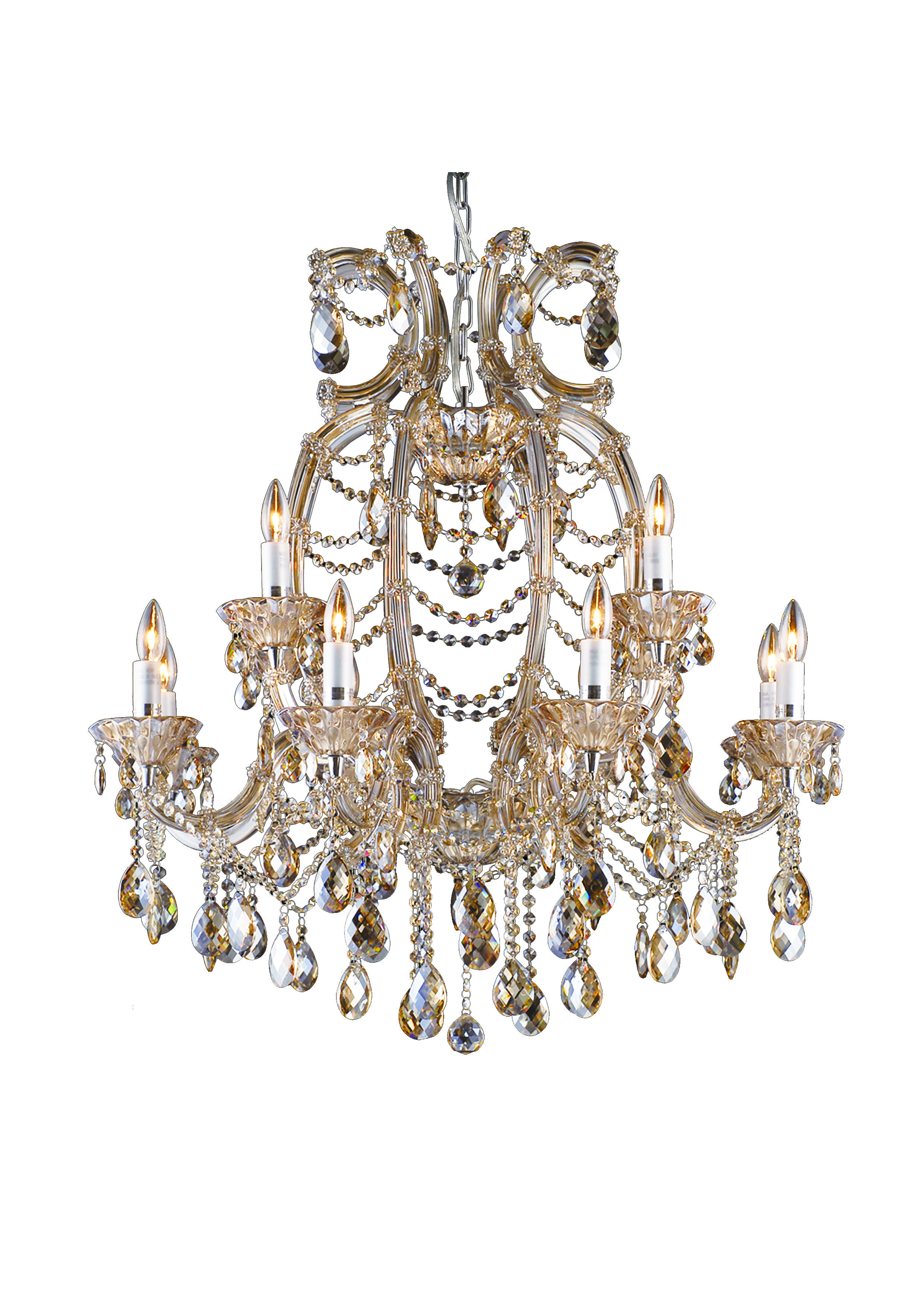 This breathtaking 12 light champagne colored crystal chandelier