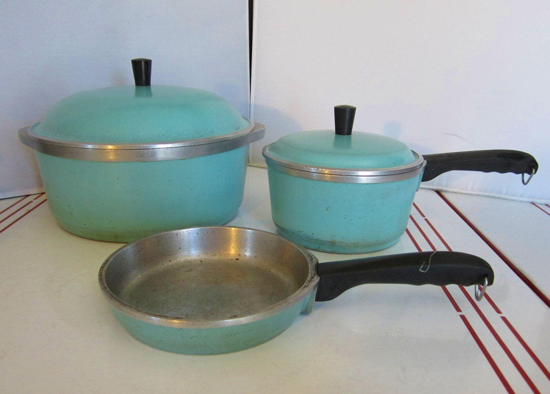 Vintage Aqua Club Cookware-1940s-1950s-5 Piece Set-Aluminum Cookware ...