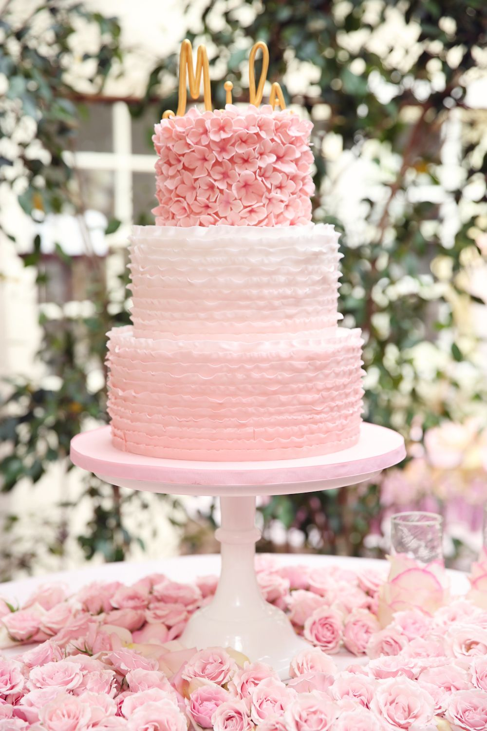 Perfectly feminine baby shower cake pink gold is the perfect