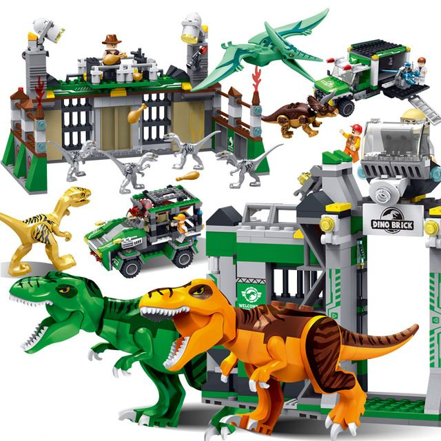 Model Building Compatible Legoing Dinosaur Toys Jurassic World 2 Indominus Rex Dino Blue Owen Helicopter Velociraptors Building Blocks Gift Set Latest Technology