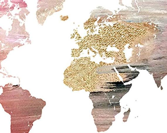 Gold, grau, rosa bemalt Weltkarte Druck Ein Unikat, Weltkarte - wohnzimmer grau rosa