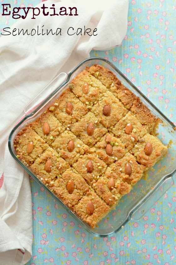 Basbousa :: Arabic Semolina Cake :: Namoura :: Middle Eastern Dessert recipes – The Veggie Indian