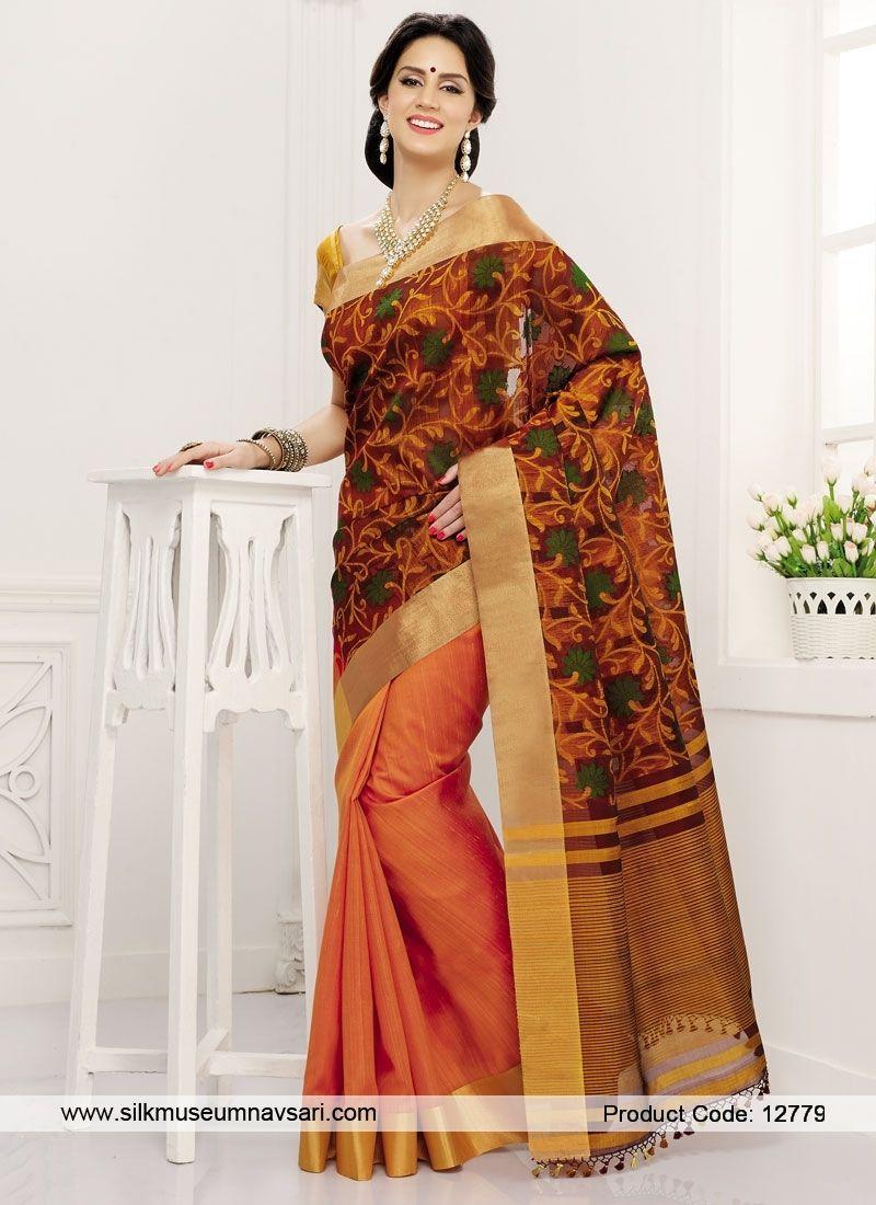 c914b260d40c48 Statuesque Boarder Work Designer Saree | Saree | Saree, Raw silk ...