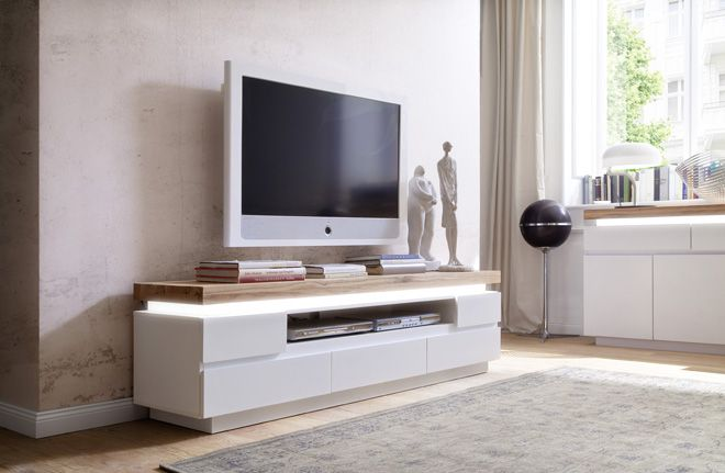 TV - Lowboard Silke II mit LED - Beleuchtung Asteiche Massivholz - unterschrank beleuchtung küche